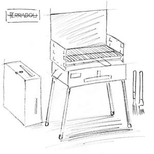 Barbecue Camping Ferrabol: dessin à la main